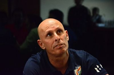 Mumbai: Indian football team coach Stephen Constantine during a press conference in Mumbai on May 19, 2018. (Photo: IANS)