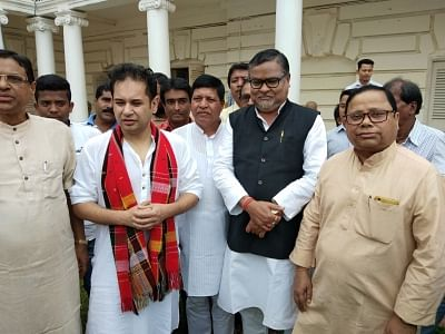 Agartala: Tripura BJP leader Subal Bhowmik joins Congress in Agartala on March 19, 2019. The other two BJP leaders who switched to Congress are Prakash Das and Debashish Sen. (Photo: IANS)