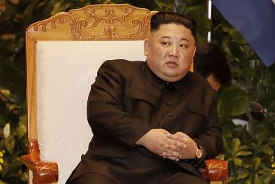 Hanoi: North Korean leader Kim Jong-un holds talks with Vietnamese Prime Minister Nguyen Xuan Phuc (not pictured) at the government building in Hanoi on March 1, 2019, one day after his second summit with U.S. President Donald Trump ended with no deal.(Yonhap/IANS)
