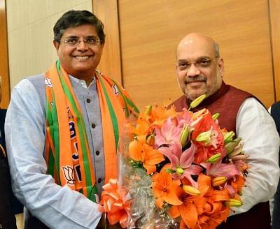 New Delhi: Former Biju Janata Dal (BJD) MP Baijayant Jay Panda who joined the Bharatiya Janata Party (BJP) with party chief Amit Shah in New Delhi on March 4, 2019. (Photo: IANS)