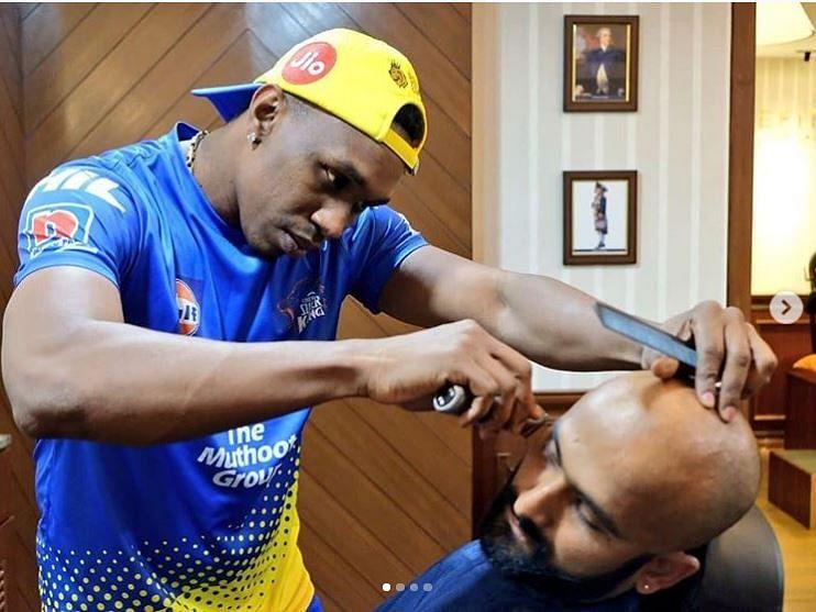 CSK's Dwayne Bravo Turns Hairstylist For Teammate Monu Singh