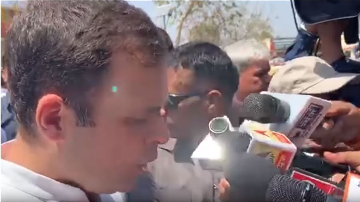 Screenshot of the video of the 'green laser' incident involving Rahul Gandhi.