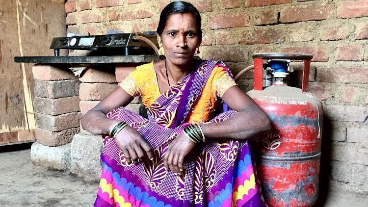 Bharti Patil, a Pradhan Mantri Ujjwala Yojana beneficiary in Tamsai, western Maharashtra.