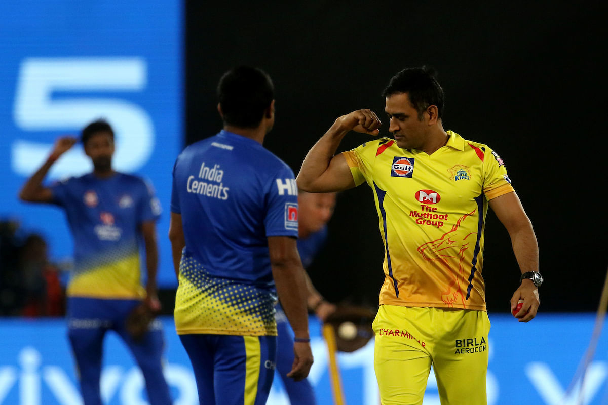 MS Dhoni captain of Chennai Super Kings before the start of the match 33 of the Vivo Indian Premier League Season 12