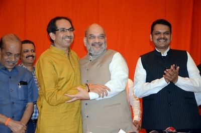 Mumbai: BJP President Amit Shah and Sena President Uddhav Thackeray, along with former Maharashtra Chief Minister and BJP leader Devendra Fadnavis.
