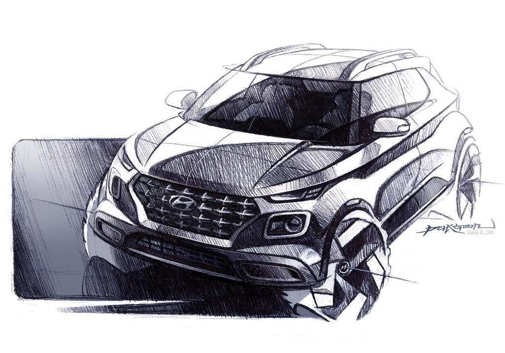 The latest sketch of the upcoming Hyundai Venue compact SUV.