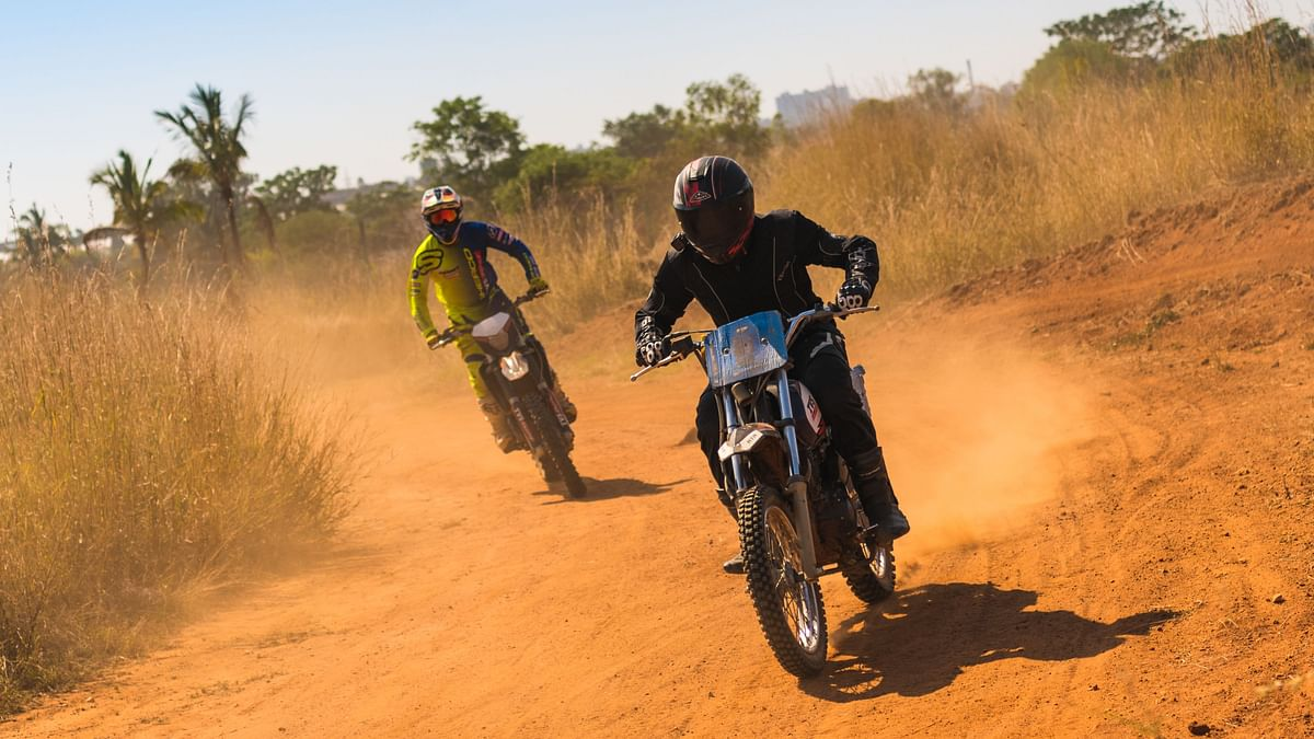 Riding a 200cc modified Apache RTR 200 at the TVS off-road training track in Bengaluru.