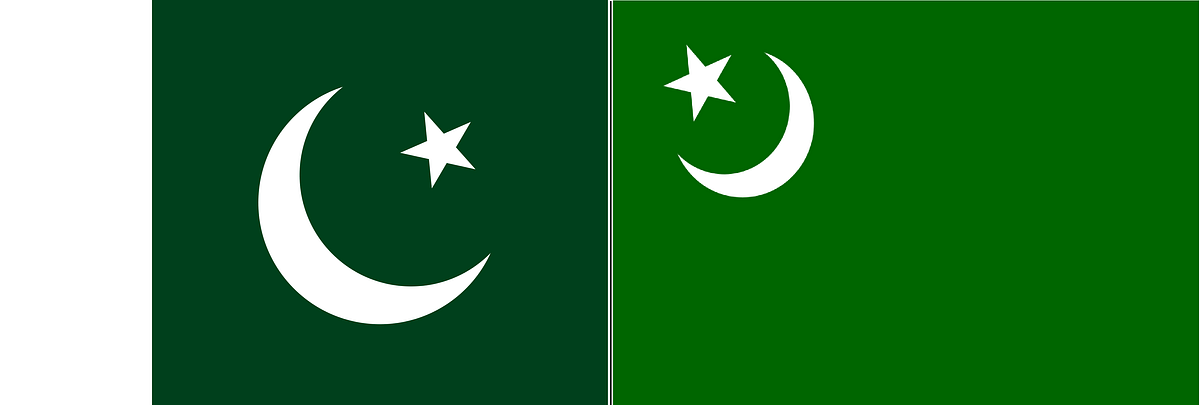 A side-by-side comparison of the Pakistani national flag (left) and the IUML flag.