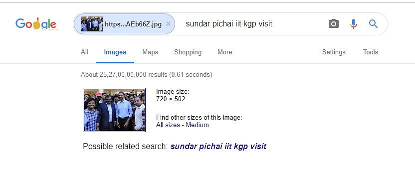 Reverse search image showed that the image was from Pichai's IIT visit