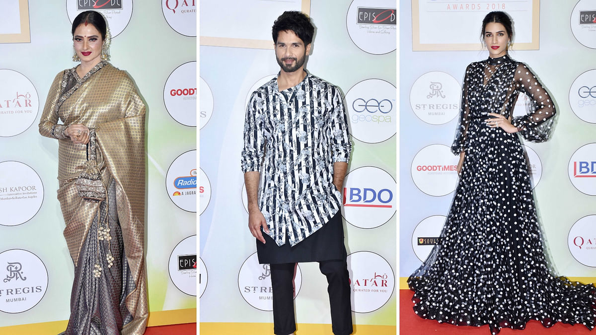 In Pics:  Kriti Sanon, Rekha, Shahid's Sizzling Red Carpet Looks