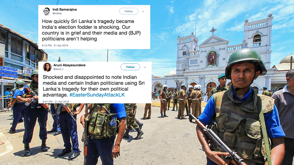 "Sri Lankan Twitter slammed Indian media for using the series of blasts in the island nation as ""election fodder."""