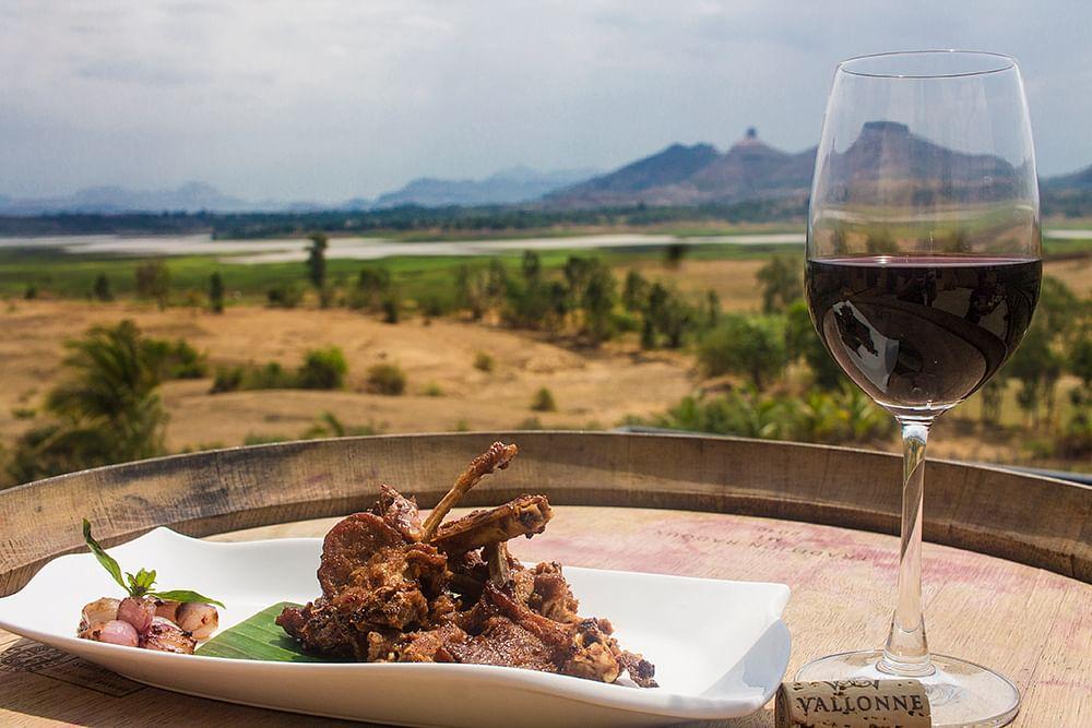 Enjoy exotic food and wine at Vallonne Vineyards, Nashik