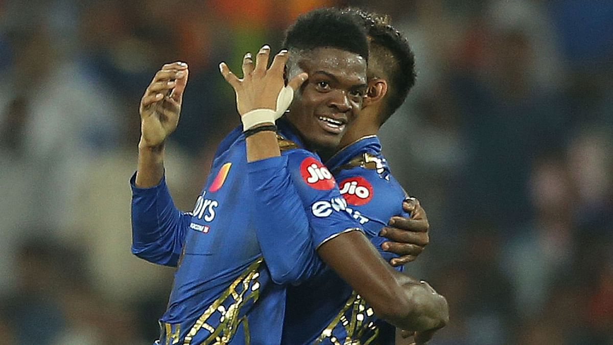 Mumbai Indian's Alzarri Joseph celebrates for the six wickets of Sunrisers Hyderabad after winning in Hyderabad on Saturday, April 6.