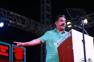 Makkal Needhi Maiam (MNM) President Kamal Haasan addresses during a party rally in Puducherry.