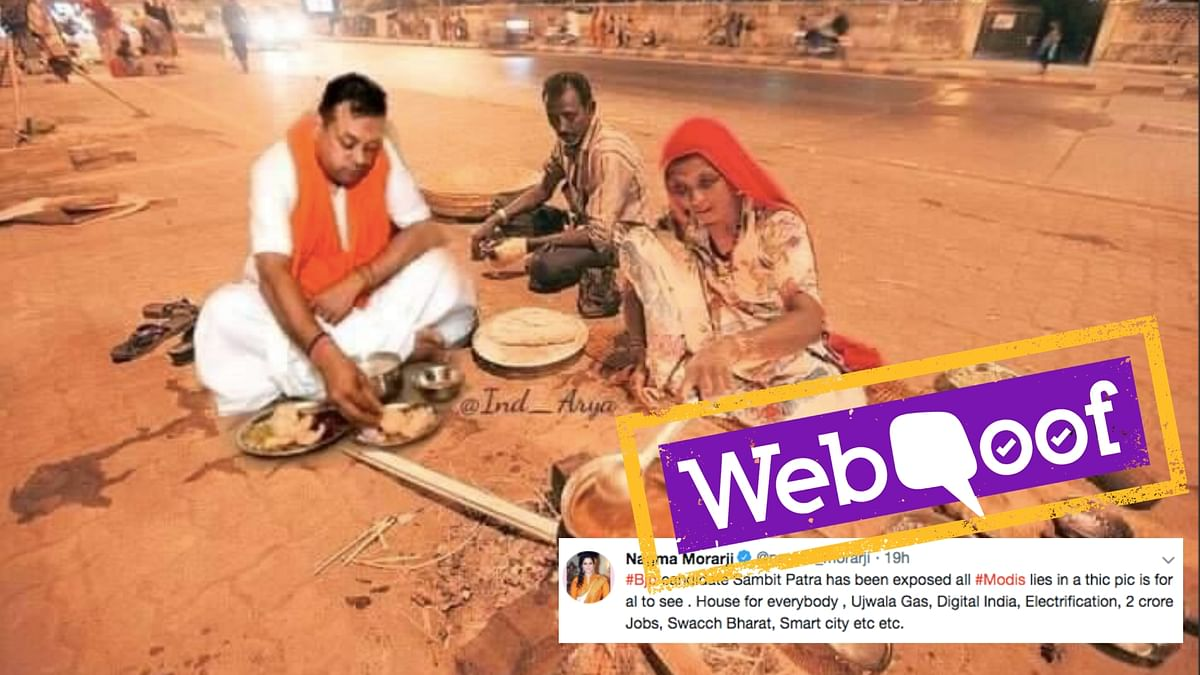 The Viral Photo of Sambit Patra Eating on Pavement is Photoshopped