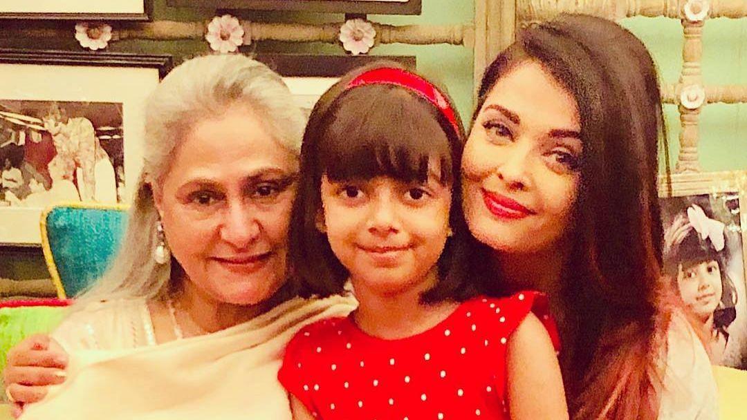 Jaya Bachchan with Aishwarya Rai Bachchan and granddaughter Aaradhya.