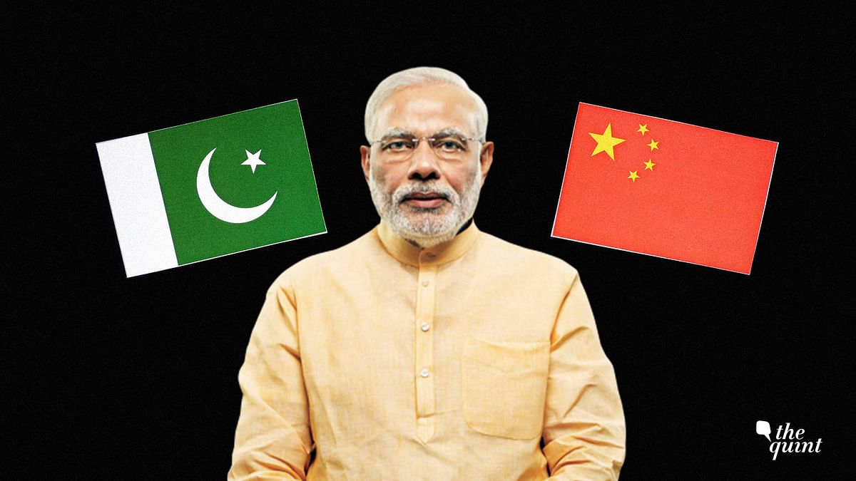 Image of PM Modi and flags of China (R) and Pakistan (L) used for representation.