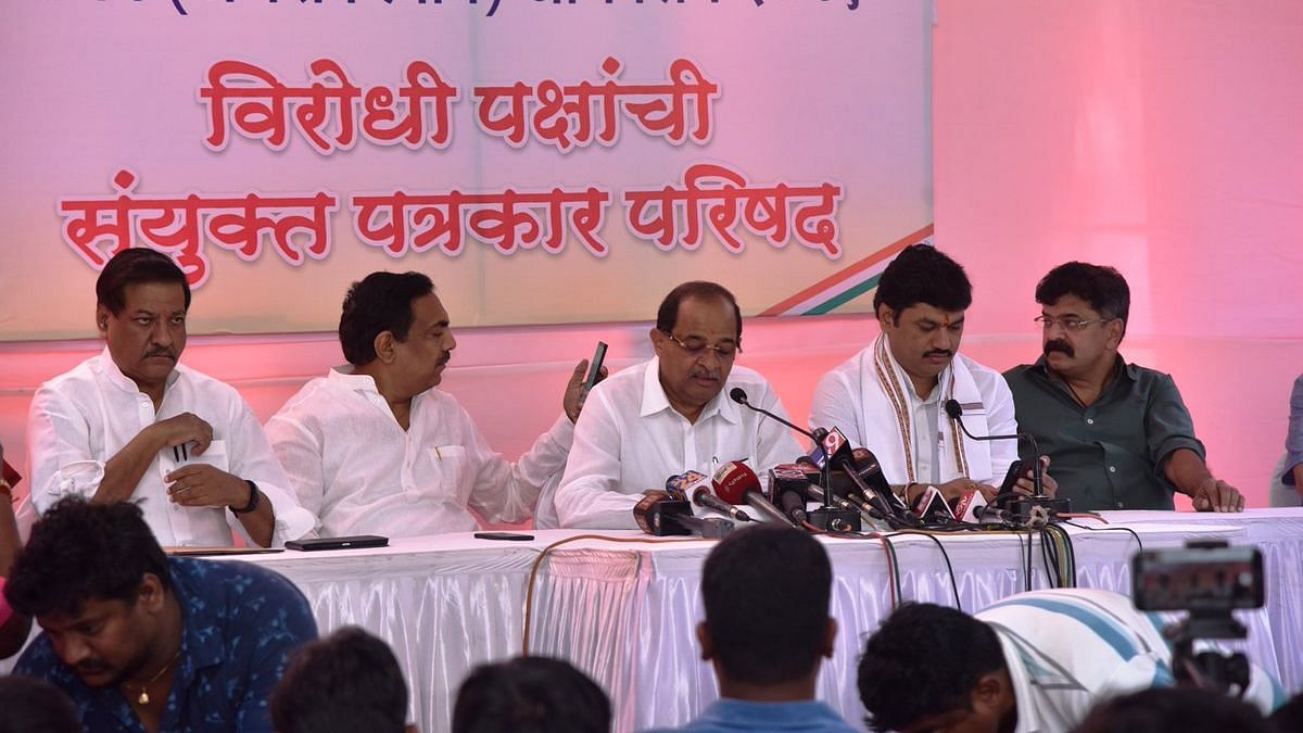 Radhakrishna Vikhe Patil's (centre) resignation comes after his son's departure from the party in March.