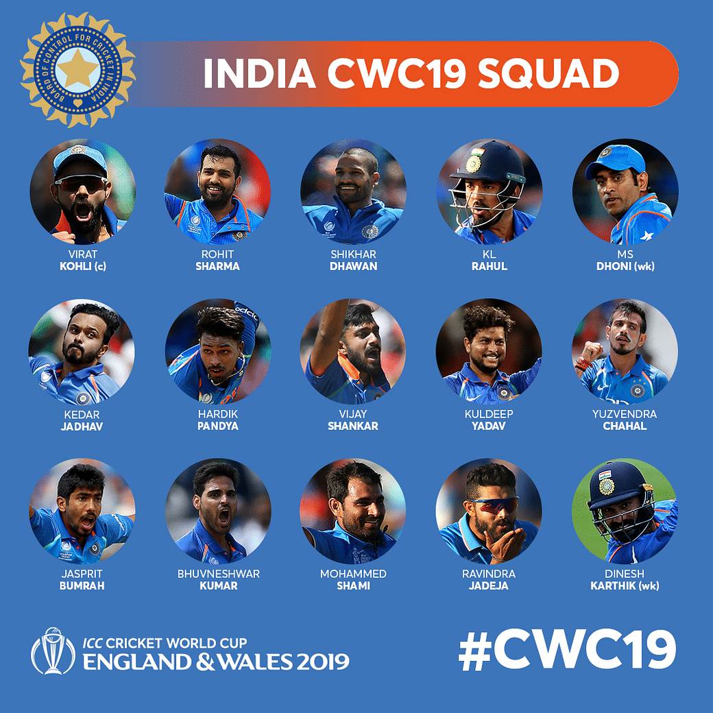 World Cup 2019 Teams List, Squad, Captain: Full List of ICC Cricket World  Cup Players in 10 Squads