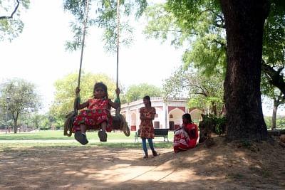 Children enjoying in the Sundar Nursery park. (Photo: Bidesh Manna/IANS)