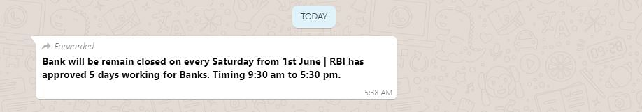 Message Announcing Saturdays Off for Banks From 1 June is Fake!
