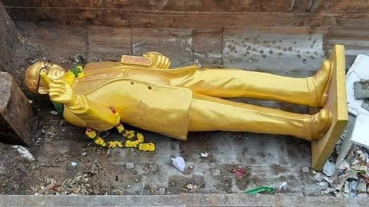 The statue seized by GHMC officials in Hyderabad was found broken and dumped in garbage on Sunday, 14 April.