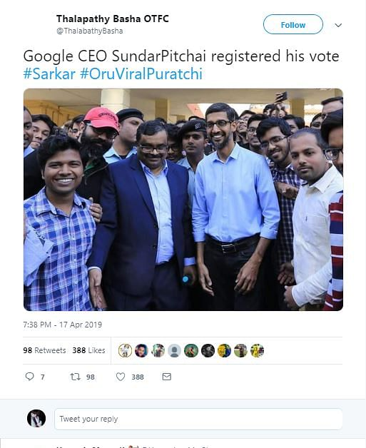 Screenshot of a viral Twitter post claiming that the Google CEO voted from Tamil Nadu.