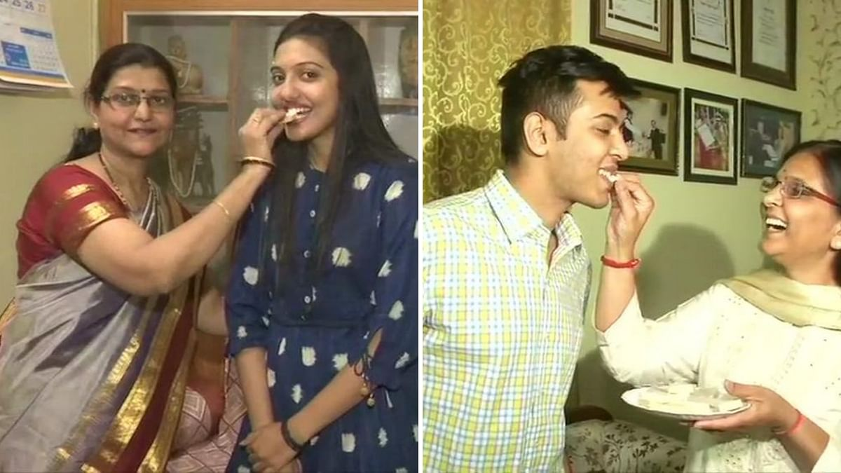 UPSC toppers Srushti Deshmukh and Akshat Jain celebrate with their families