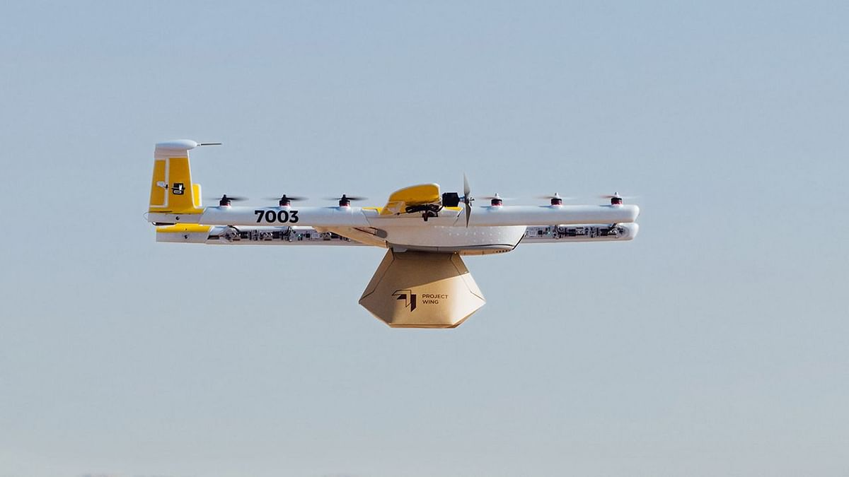This drone from Wing will be used to deliver goods.