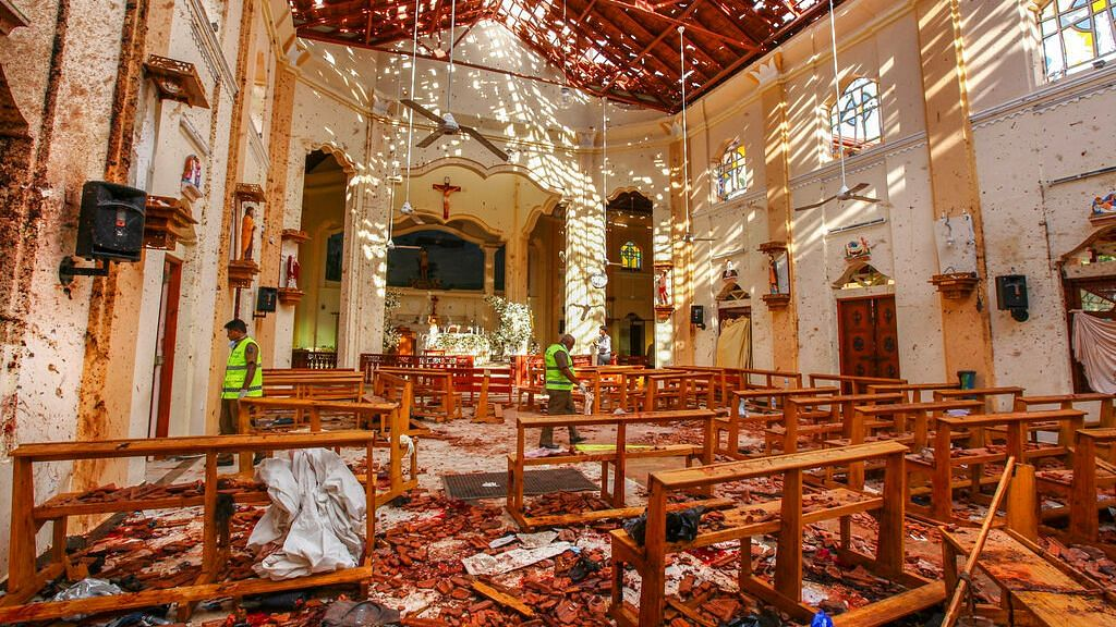 A view of St Sebastian's Church damaged in a blast in Negombo, Sri Lanka.