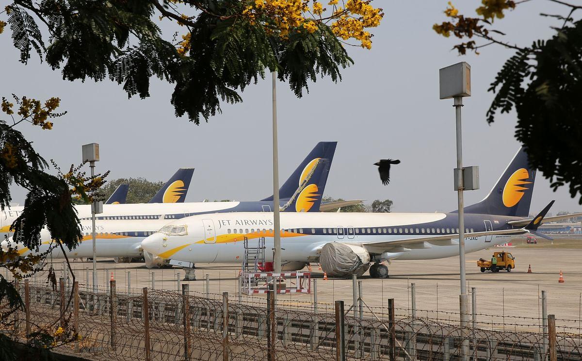 Jet Airways aircrafts are seen parked at Chhatrapati Shivaji Maharaj International Airport in Mumbai on Monday, 15 April, 2019.