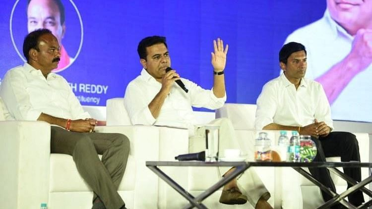 KT Rama Rao in an interaction with IT employees in Hyderabad.