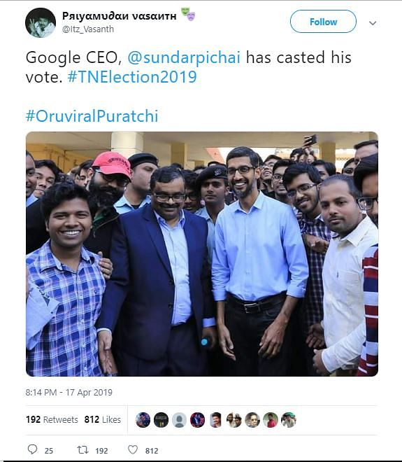 The post which claimed that the Google CEO has casted his vote from Tamil Nadu