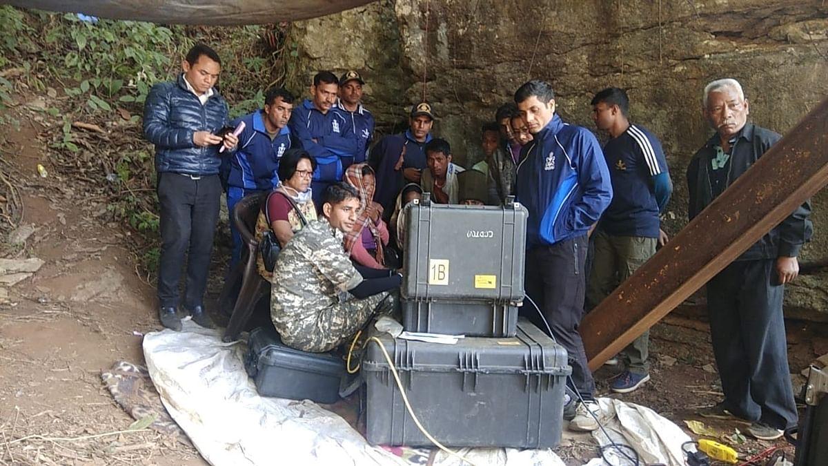 Rescue operations at the Ksan mine in East Jaintia Hills, Meghalaya.