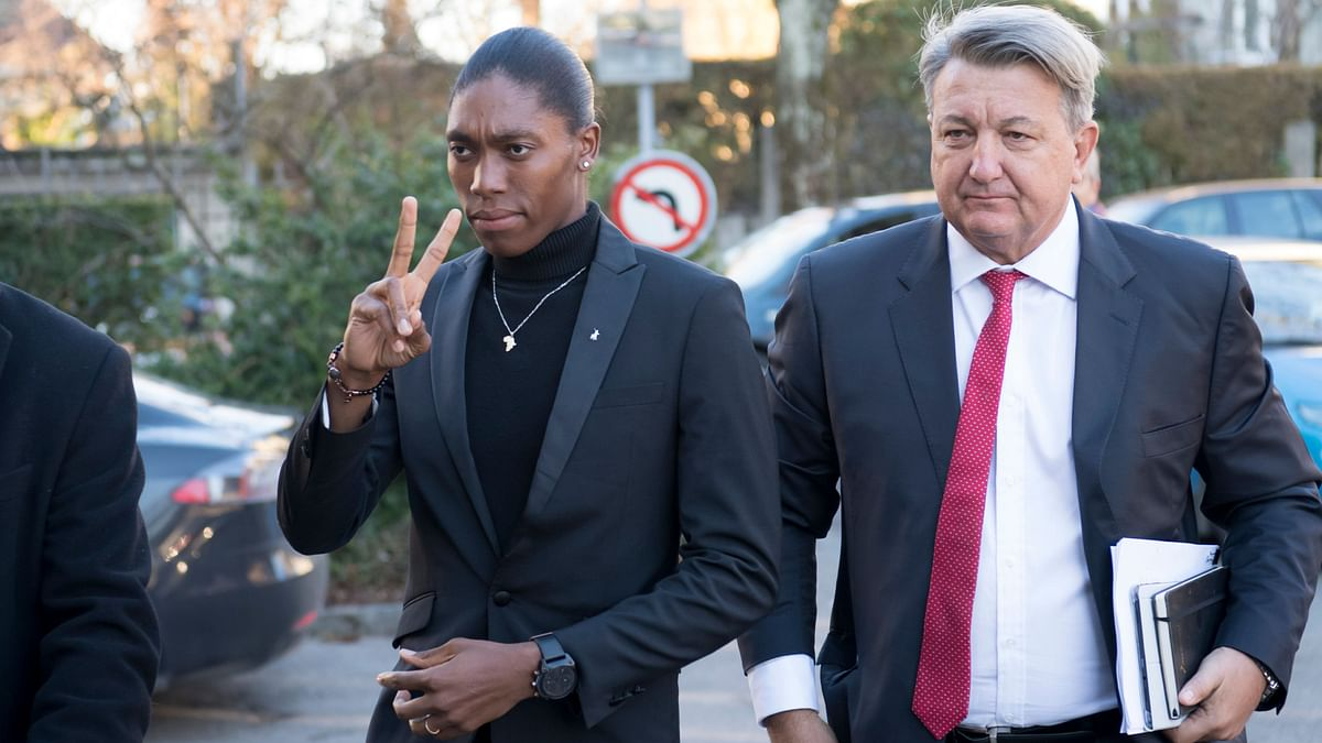 File picture of Caster Semenya (left) and her lawyer Gregory Nott arriving for the first day of a hearing at the international Court of Arbitration for Sport, CAS, in Lausanne, Switzerland.