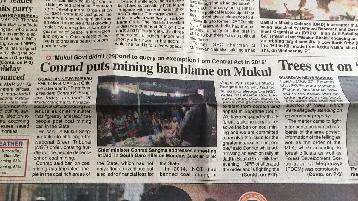 The Shillong Times report on political blame game around coal mining.
