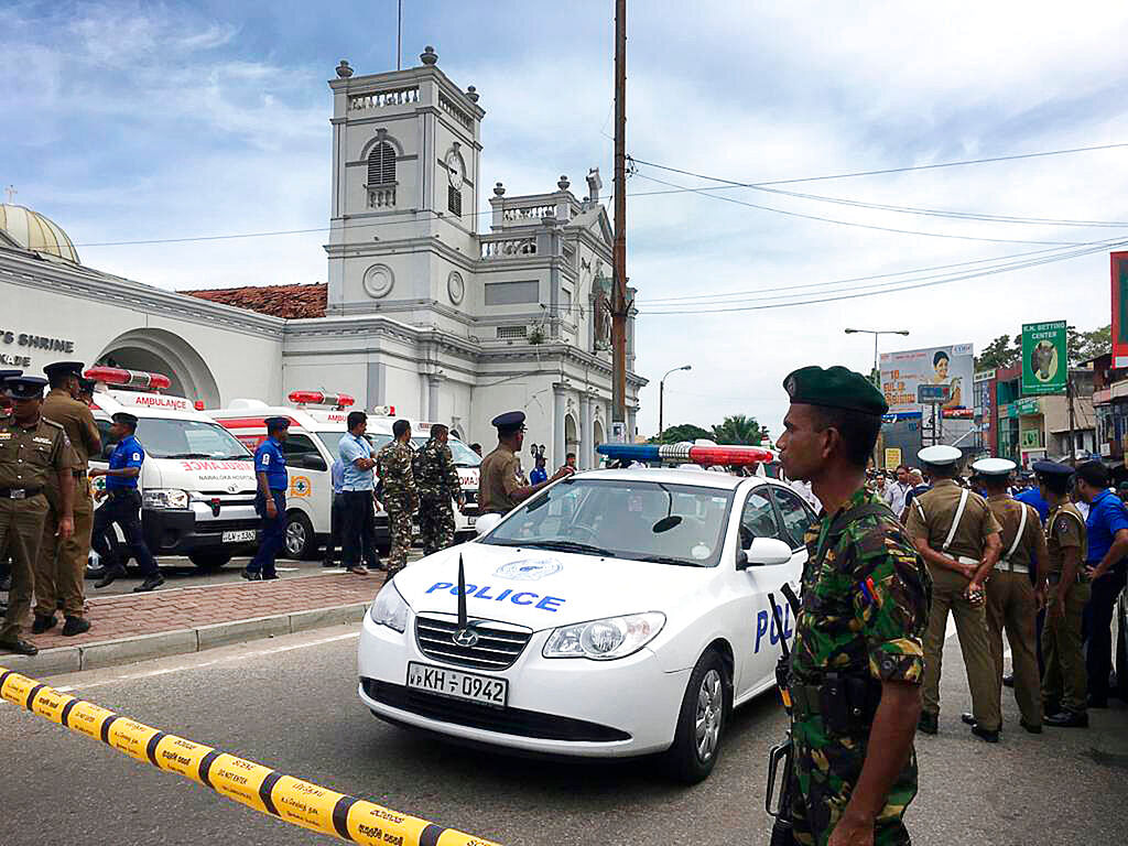 Sri Lankan Army soldiers secure the area around St Anthony's Shrine after a blast in Colombo on  Sunday, 21 April.