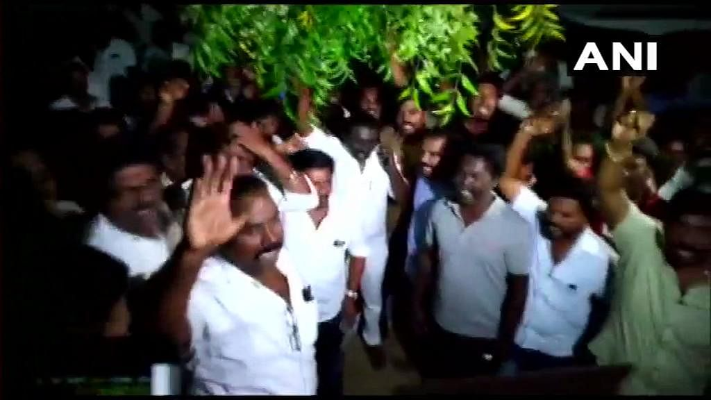 DMK workers also staged a protest over the raids.