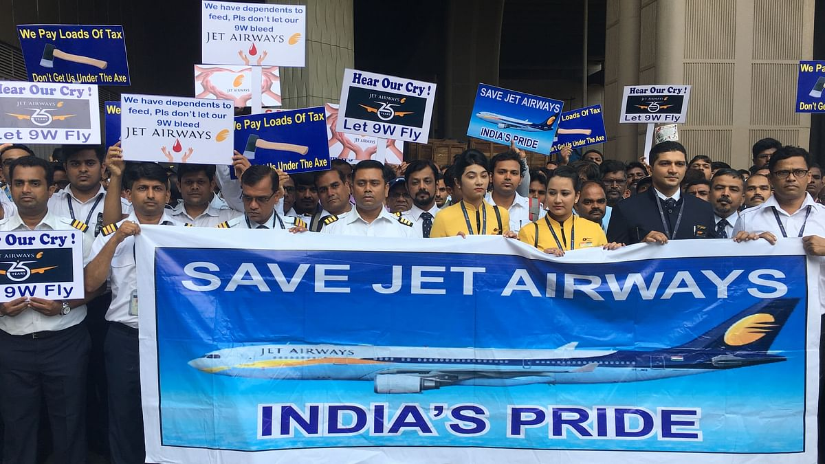 Want Salaries, Govt Intervention: Protesting Jet Airways Employees