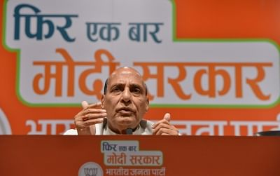 New Delhi: Union Minister Rajnath Singh addresses a press conference at the BJP headquarter in New Delhi, on May 14, 2019. (Photo: IANS)