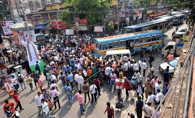 Kolkata: BJP workers ahead of Amit Shah