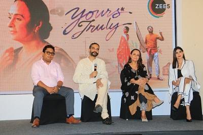"Mumbai: Director Sanjoy Nag, producer Shiladitya Bora with actresses Soni Razdan and Aahana Kumra during a press conference of their upcoming romantic drama ""Yours Truly"", in Mumbai, on April 30, 2019. (Photo: IANS)"