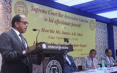 New Delhi: Justice A.K. Sikri addresses during his farewell ceremony in New Delhi, on March 6, 2019. (Photo: IANS)