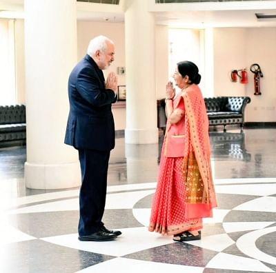 New Delhi: Iran Foreign Minister Mohammad Javad Zarif meets External Affairs Minister Sushma Swaraj in New Delhi, on May 14, 2019. (Photo: IANS/MEA)