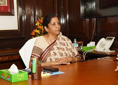 New Delhi: Nirmala Sitharaman takes charge as the Union Minister of Finance and Corporate Affairs at North Block in New Delhi, on May 31, 2019. (Photo: IANS/PIB)