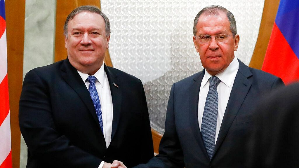 US Secretary of State Mike Pompeo (L), and Russian Foreign Minister Sergey Lavrov at the Black Sea resort city of Sochi.