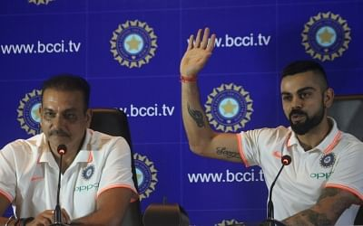 New Delhi: Indian captain Virat Kohli and coach Ravi Shastri address a press conference before leaving for England and Ireland, in New Delhi, on  June 22, 2018 (Photo: Bidesh Manna/IANS)