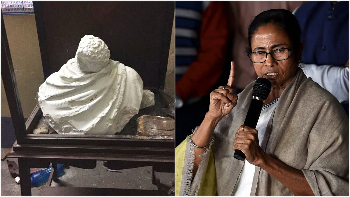 Kolkata: A statue of Ishwarchandra Vidyasagar which was vandalised at Vidyasagar College in clashes that broke out during BJP President Amit Shah's roadshow in the city.