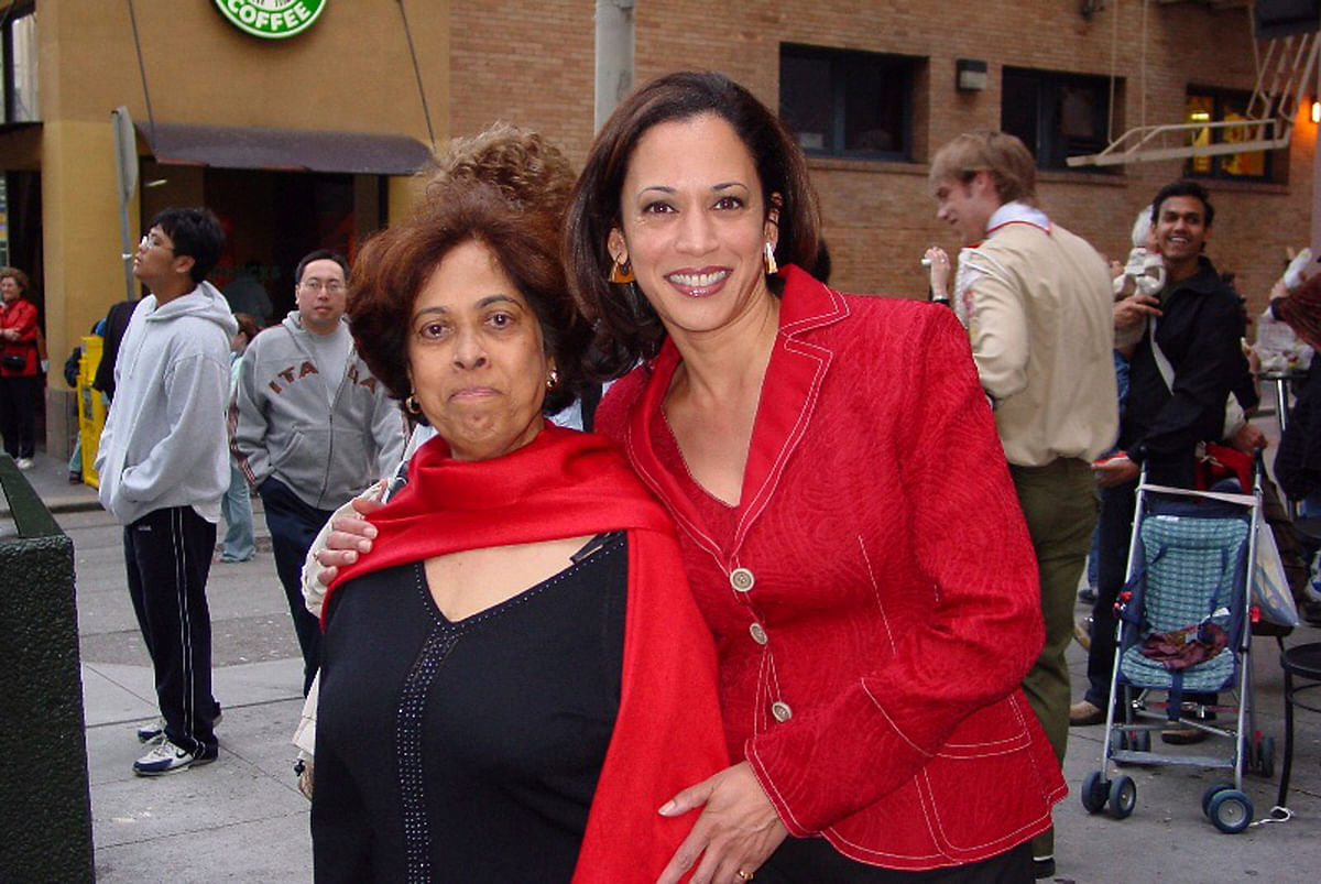 File photo of Kamala Harris with her mother, Shyamala, at a Chinese New Year parade.