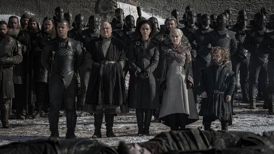 A still from the funeral scene in <i>Game of Thrones</i> episode 4.